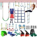 Dripex Ninja Slackline Set 15M Anfänger Slacklines mit dem zusätzliche Kletternetz, Schaukel und Strickleiter, hängen Hindernisse Training Kurs Set Klettertau für Kinder, Anfänger und Familien