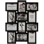 DRULINE Bilderrahmen für 12 Fotos Fotorahmen Fotocollage Fotovorhang XXL Bildervorhang Kunststoffrahmen Bildergalerie Bilderwand   45 x 59 cm   Schwarz