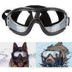 DUBENS Fashion Hundebrille Sonnenbrille wasserdichten Schutz Sun-Brille, UV-Schutz Eyewear Goggles Schutzbrille, Einstellbar Haustier Brillen, Geeignet für mittlere und große Hunde, Schwarz