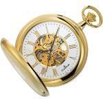 Dugena Taschenuhr mit Kette 4460307-1 Savonette mechanisch Skelett vergoldet