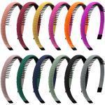 Duufin 12 Stück Haarreif mit Kamm, Kopfband mit Zähnen Kunststoff Stirnband Zähne Kamm Stirnband, Kunststoff Kamm Haarband Satin Haarreifen für Damen Mädchen