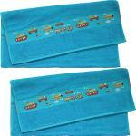 Dyckhoff Walk-Frottier Kinder-Handtuch im 2er-Pack gruen/blau 50x100 cm