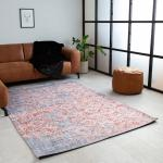 Dylan Teppich Industrial Grau/Rot geblümt 160x230cm