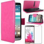 ebestStar - kompatibel mit LG G3 Hülle D855 Kunstleder Wallet Case Handyhülle [PU Leder], Kartenfächern, Standfunktion, Pink + Panzerglas Schutzfolie [G3: 145.5 x 74.6 x 9.1mm, 5.5'']