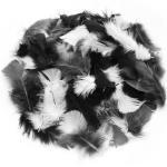 Echte Federn, schwarz-weiß-grau, 20 g = ca. 160-170 Federn