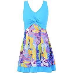 Ecupper Damen Badekleid Gepolstert Badeanzug mit Shorts Einteiler Blumen Muster Schwimmkleid Große Größen Hell Blau M