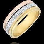 Edenly Anneau Egeria - Dreierlei Gold und Diamanten - 9 Karat