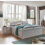 Ehebett im Landhausstil Weiß Kiefer massiv (3-teilig)