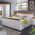 Ehebett in Weiß Honigfarben