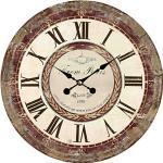 elbmöbel Wanduhr - Holz Küchenuhr mit großem Ziffernblatt aus MDF, Retro Uhr im angesagtem Shabby Chic Design mit leisem Uhrwerk, Ø: 34 cm, from Paris