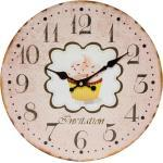 elbmöbel Wanduhr »Wanduhr Holz Küchenuhr Ziffernblatt Retro Uhr Shabby Chic Design« (Wanduhr Holz Küchenuhr Ziffernblatt Retro Uhr Shabby Chic Design Ø 34 cm Cupcake rosa)