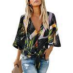 Bunte 3/4-ärmelige Casual V-Ausschnitt Seidenshirts für Partys für Damen