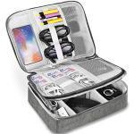 Elektronische Tasche - Doppelte Schichte Elektronik zubehör organisator - universal travel Kabel Organizer Tasche (grau)