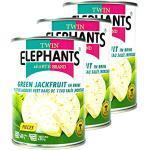 ELEPHANT - 3er Pack Green/Grüne Jackfruit in Salzlake eingelegt in 540 g Dose - Original Junge Jackfrucht in Stücken ideal als kalorienarmer Fleischersatz - Young Jack Fruit vegan in Konserve