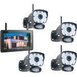 ELRO Überwachungskamera Komplettset 4 Kameras + 9Zoll Monitor, Handy Überwachungs App