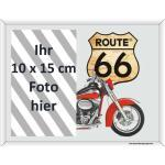 empireposter Route 66 Motorbike - Bedruckter Spiegel als Fotorahmen - Größe 22,8x17,8
