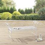 en.casa Gartenbank, »Cossila« Parkbank Sitzbank 70x147x46cm Metall Weiß, weiß, weiß