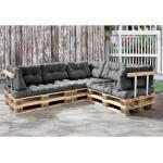 en.casa Palettenkissen, »Mogán« Sitzauflage Sitzkissen Rückenkissen 120x80x12cm für Palettenmöbel in verschiedenen Farben, silberfarben
