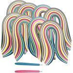 ENGESTON Multi-Size 3/5/7/10 x390mm Papier Quilling Streifen Set, 2080 Streifen, 26 Formen von Farben Quilling Papier, 2 Schlitzstift für DIY Quilling Kunsthandwerk, Papier Blumen schaffen