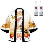 Enhopty Unisex Rengoku Kyoujurou Kimetsu no Slayer Kimono Mantel Kap Jacke Halloween Karneval Umhang mit Ohrringe Cosplay Kostüm Orange 4XL