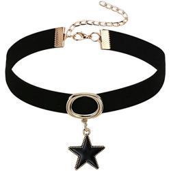 Epinki Damen Choker, Halskette Samtband Leder Stern Form Anhänger Tattoo Samtkropfband Gothic Halsband 32+8.5CM Gold Schwarz