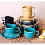 Eschenbach Kaffeeservice »Kaleido« (18-tlg), Porzellan, von Hand aufgebrachte Farbglasur, spülmaschinenfest, bunt, bunt