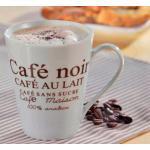 Esmeyer Kaffeebecher Fakt weiß 6er Set aus weißem Porzellan mit braunem