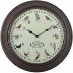 Esschert Design Uhr mit Vogelgezwitscher, aus Kunststoff, mit verschiedenen Vogelmotiven, 30,1 x 4,5 x 30,1 cm, Gartenuhr