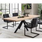 Esstisch aus Eiche Massivholz 4-Fußgestell aus schwarzem Metall