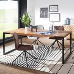 Esstisch aus Sheesham Massivholz und Metall Industry Design