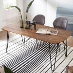 Esszimmer Tisch aus Sheesham Massivholz und Metall 180 cm breit
