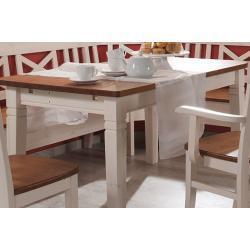 Weiße Skandinavische Rechteckige Esstische im Landhausstil aus Massivholz Breite 100-150cm, Höhe 100-150cm, Tiefe 100-150cm