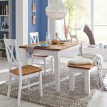 Esszimmergruppe im Landhaus Design Weiß Kiefer massiv (4-teilig)