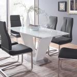 Esszimmertisch in Weiß Hochglanz Glas ausziehbar