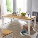 Esszimmertisch in Weiß und Eichefarben Landhausstil