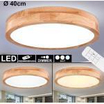 etc-shop Deckenleuchte, LED Decken Leuchte dimmbar Holz Optik Tageslicht Lampe Design Strahler Wohn Zimmer Beleuchtung Fernbedienung