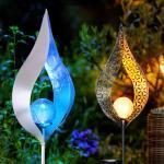 etc-shop Dekolicht, Solarleuchte Flamme Garten Solarstab für Außen Solar Garten Deko für Außen, mit Erdspieß und Lichteffekt in gelb und blau, 1x LED