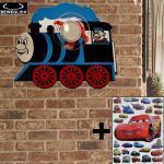 etc-shop Dekolicht, Wand Leuchte Kinder Zimmer Spot Lampe beweglich Lokomotiven Design im Set mit Cars Stickern Stickern