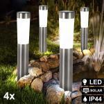 etc-shop Einbauleuchte, 4er Set LED Solar Leuchten Steck Stand Beleuchtungen Außen Strahler Säulen Lampen