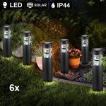 etc-shop Einbauleuchte, 6x LED Solar Steck Leuchten Garten Weg Beleuchtung Veranda Hof Erdspieß Lampen schwarz