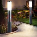 etc-shop LED Außen-Stehlampe, 2x Außen Steh Leuchte Sockel Park Bewegungsmelder Strahler Edelstahl Hof Lampe