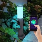 etc-shop LED Außen-Stehlampe, Smart Außen Steh Lampe Garten Steckdosen Sockel Leuchte dimmbar App Handy Steuerung im Set inkl. RGB LED Leuchtmittel