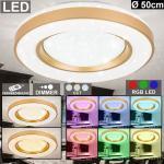 etc-shop LED Deckenleuchte, Deckenleuchte mit Farbtemperatur-Wechsler dimmbare Deckenlampe mit Fernbedienung, 1x RGB LED 58 Watt 3000-6500K 1x 2000 Lumen