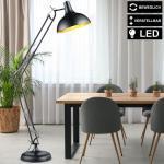 etc-shop LED Leselampe, Steh Leuchte höhenverstellbar Stand Lampe SCHWARZ GOLD Spot beweglich im Set inkl. LED Leuchtmittel