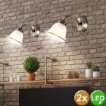 etc-shop Wandleuchte, 2er Set Antik Stil Wand Lampe Wohn Zimmer Altmessing Glas Lese Leuchte im Set inkl. LED Leuchtmittel