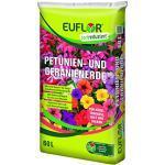 Euflor Petunien- und Geranienerde torfreduziert 60 L Sack lockere und mineralisch aufgedüngte Spezialerde für Geranien, Petunien und anderestark zehrende Beet- und Balkonpflanzen