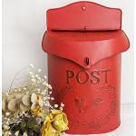 European Retro Villa Mailbox Wandzeitung Schmiedeeisen Handbemalter Postraum Wasserdicht (red)