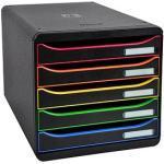 Exacompta Schubladenbox BIG-BOX PLUS schwarz mit bunten Farblinien DIN A4 mit 5 Schubladen