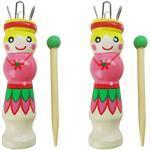 EXCEART Strickliesel Holz Strickpüpchen DIY Strickwerkzeug mit Nadel für Kinder Erwachsene Anfänger 2 Set