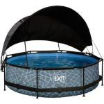 EXIT Stone Pool ø300x76cm mit Sonnensegel und Filterpumpe - grau